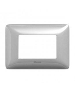 Placca 3 moduli silver MATIX