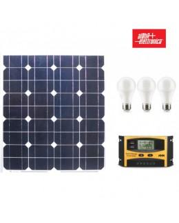 Kit fotovoltaico 12V 50W con regolatore e lampade