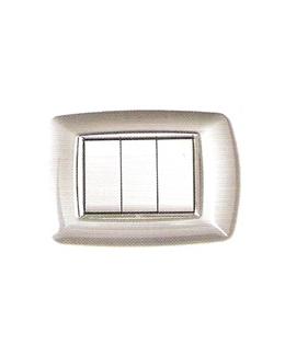 Placca coprinterruttori alluminio chiaro